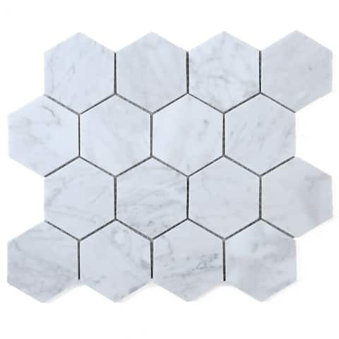 "TileGen. 3"" Hexagon White Carrara Marble Mosaic Tile in White Floor and Wall Tile (10 sheets/8.6sqft.)"