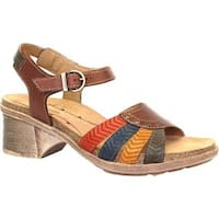 Dromedaris Women's Shelly Ankle Strap Sandal Cognac Leather