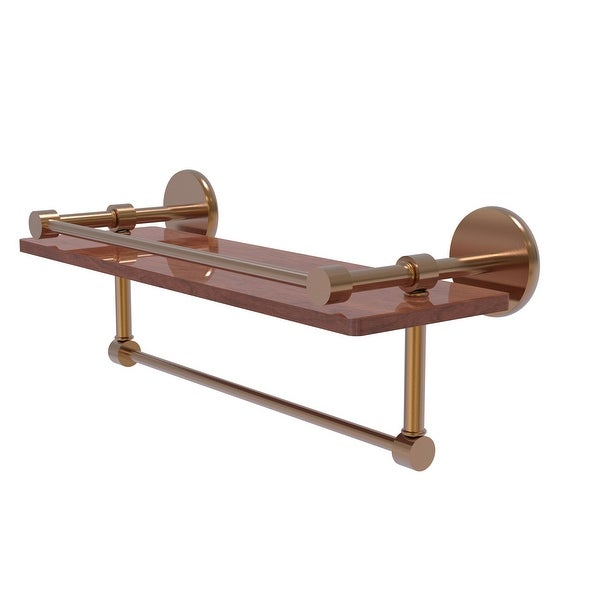 Allied Brass Prestige Skyline Collection hardwood Shelf with Gallery Rail and Towel Bar