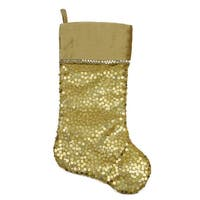 "20.5"" Shiny Gold Holographic Sequined Christmas Stocking with Velveteen Cuff"