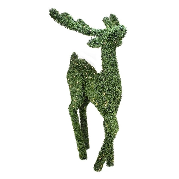 6' Pre-Lit Boxwood Standing Reindeer Christmas Outdoor Decoration - Warm White LED Lights - green