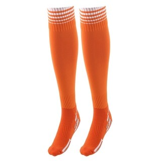 Unisex Anti Slip Stripe Pattern Elastic Football Soccer Long Socks Orange Pair