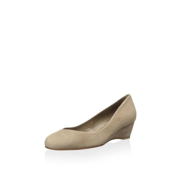 Delman NEW Beige Women's Shoes Size 8M Doll Kid Suede Wedge Pump