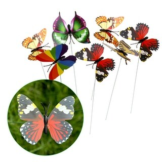 IMAGE 25PCS 7cm Butterfly Stake With 3D Colorful Wings, Perfect Ornaments