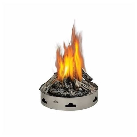 "Napoleon GPFN-2 Patioflame 60000 BTU 20"" Diameter Natural Gas Outdoor Fireplace with PHAZER Logs - Stainless Steel"
