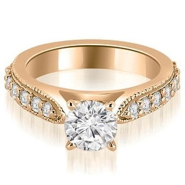 1.20 cttw. 14K Rose Gold Cathedral Round Cut Eternity Diamond Engagement Ring