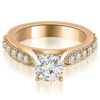 1.70 cttw. 14K Rose Gold Cathedral Round Cut Eternity Diamond Engagement Ring