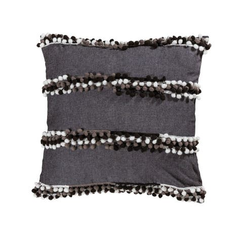 Black/White and Grey Textured Pillow Cover 20x20-inch Pillow Cover Only Black/White/Dark Grey Colors
