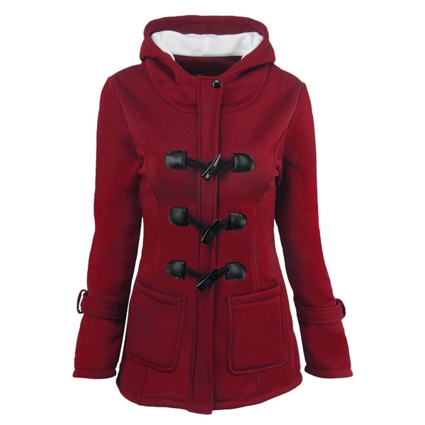 Women Hoodies Wool Coat Horns Button Double Thicken Long Section Hooded Wool Jacket. Opens flyout.