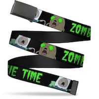 Blank Black Buckle Finn & Jake Zombie Time Black Green Webbing Web Belt