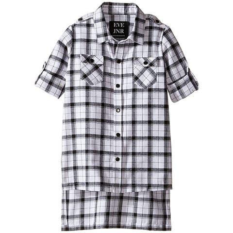 Eve Jnr Oversize Button Up Tunic Shirt, Black/White, 3