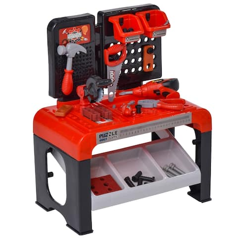 Qaba 46 PCS Workbench Play Toy for Kids of Ages 3+ Realistic Tools and Accessories for Boys Children Worker Pretend Game