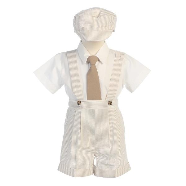65a9259f6935a Khaki Stripe Seersucker Suspender Shorts Outfit Boys 12M-4T