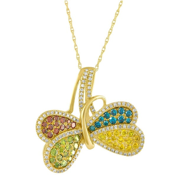 Beautiful 1.01 TCW Multi Color Diamond & White Diamond Butterfly Pendant - White H-I