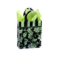 "Pack Of 100, Cub Size 8 X 4 X 10"" Floral Brocade Plastic Shopping Bags 3 Mil W/6 Mil Handle"