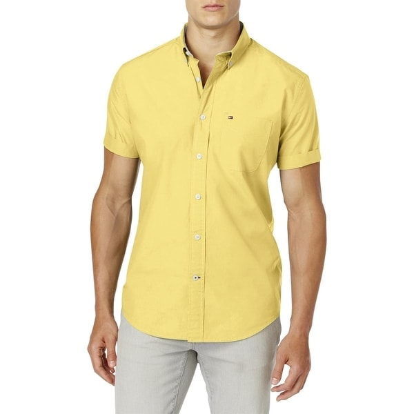466cf2ff Shop Tommy Hilfiger Yellow Mens Size 2XL Classic Fit Button Down Shirt -  Free Shipping On Orders Over $45 - Overstock - 22515406
