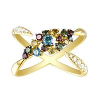 Prism Jewel 0.76 Carat G-H/SI1 Natural Diamond With Multi Color Diamond Anniversary Ring