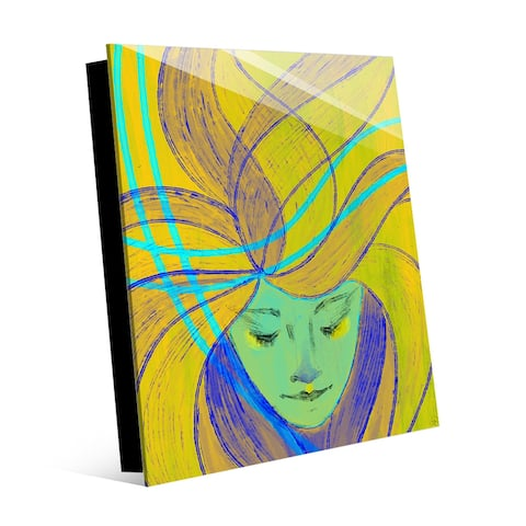 Kathy Ireland Woman Floats With the Wind on Yellow Abstract on Acrylic Wall Art Print