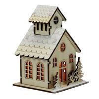 """4.5"""" Lighted Laser Cut Wooden Church with Trees Christmas Decoration - Brown"""
