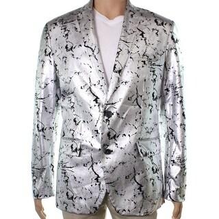 INC NEW Silver Black Mens Size 2XL Two Button Foil Slim Fit Blazer