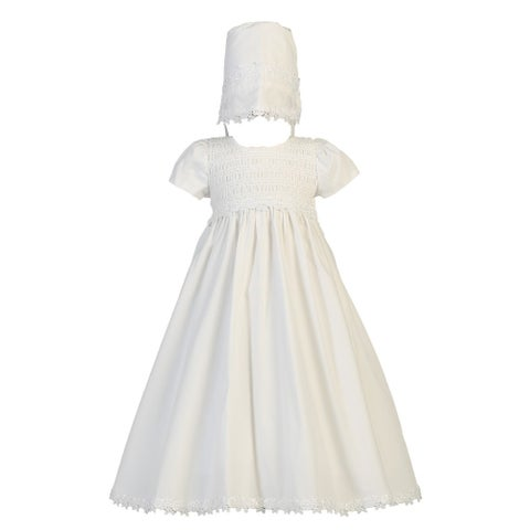 Baby Girls White Cotton Smocked Bonnet Easter Christening Gown 0-18M