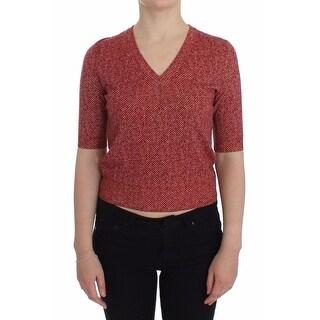 Dolce & Gabbana Dolce & Gabbana Red Wool Tweed Short Sleeve Sweater Pullover