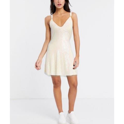 Free People Women's Gold Rush Minidress White Size Extra Small