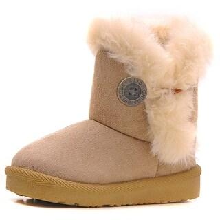 Femizee Girls Boys Warm Winter Flat Shoes Bailey Button Snow Boots(Toddler/Li... - 13 m us little kid