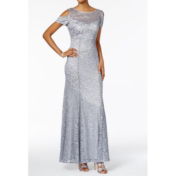 R&M Richards NEW Platinum Silver Womens Size 8 Cold-Shoulder Lace ...