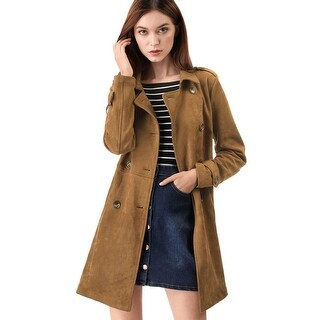 Women's Notched Lapel Double Breasted Faux Suede Trench Coat Jacket with Belt - Brown