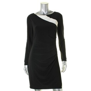 Lauren Ralph Lauren Womens Petites Clubwear Dress Two Tone Sheath