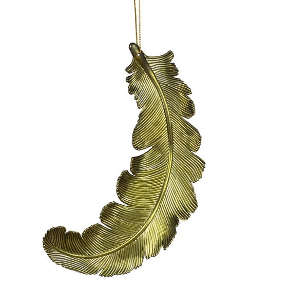 6ct Matte Olive Green Feather Shatterproof Christmas Ornaments 6""