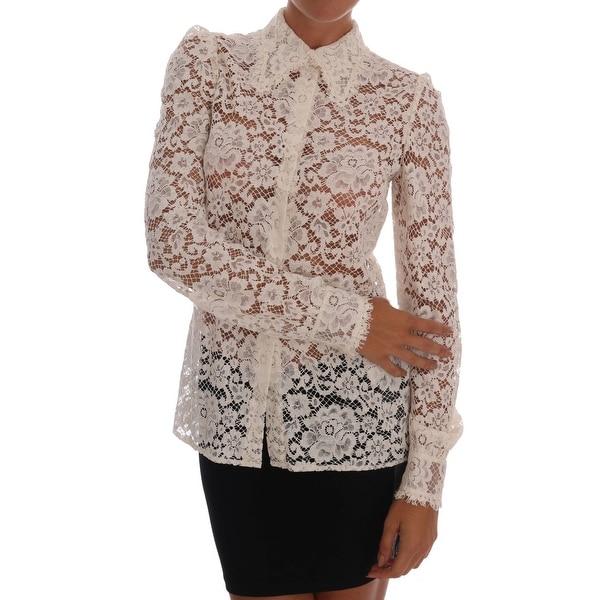 251be53b Shop Dolce & Gabbana White Floral Lace Blouse Shirt - it40-s - Free ...