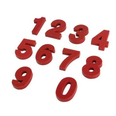 Household Dormitory Plastic Number Shaped Fridge Sticker Magnet Red 10 in 1