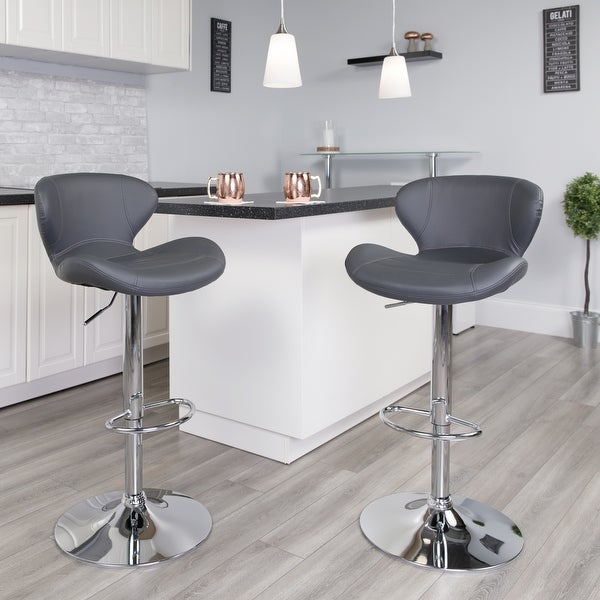 "Porch & Den Graffian Adjustable Height Bar Stool with Chrome Base - 19.25""W x 19""D x 33.75"" - 42.25""H"