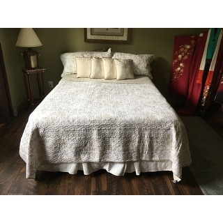 Laura Ashley Amberley Bisquit Reversible 3-piece Cotton Quilt Set