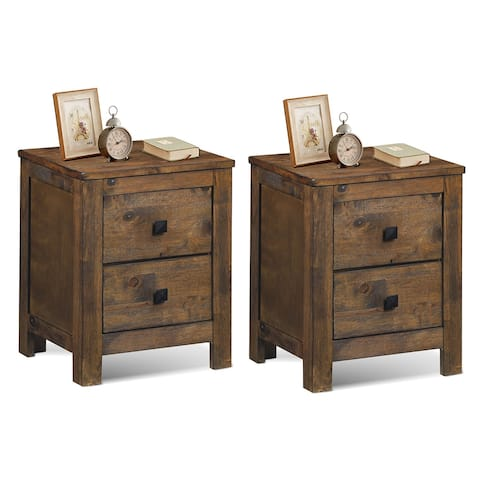 Costway 2PCS Nightstand Bed Side Table Wood with 2 Drawers Bedroom