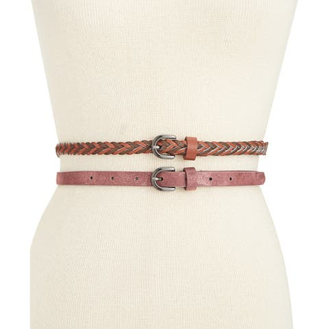 Style & Co 2-for-1 Women's Braided and Shimmer Skinny Belts (M)