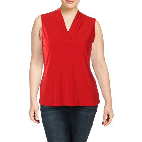 Anne Klein Womens Blouse Pleated V-Neck