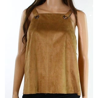 TopShop NEW Brown Womens Size 6 Faux-Suede Grommet Seamed Knit Top