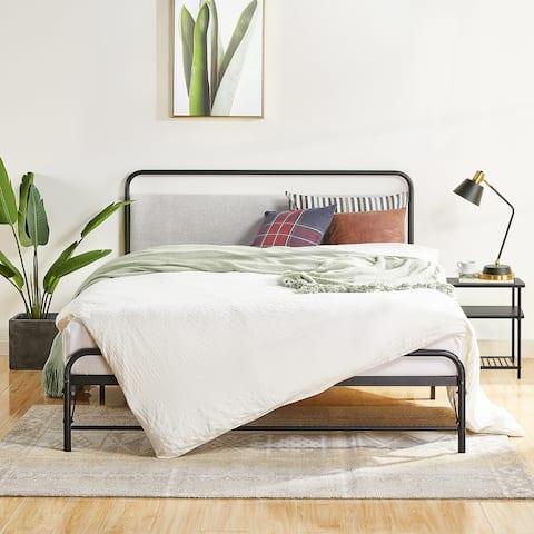 NOMADI Metal Platform Bed with Cloud Grey Upholstered Headboard By Crown Comfort