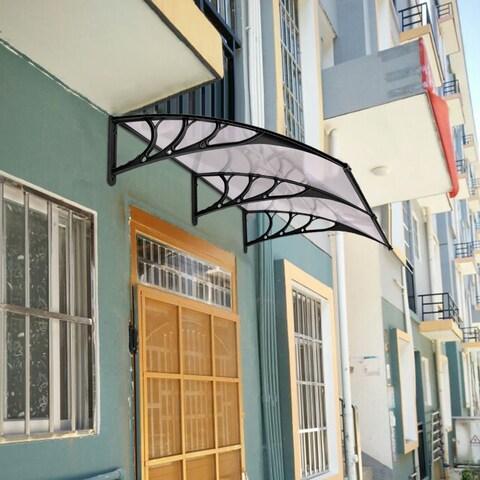 Costway 80''x 40'' Window Awning Door Canopy Outdoor Polycarbonate Front Door 3 Color