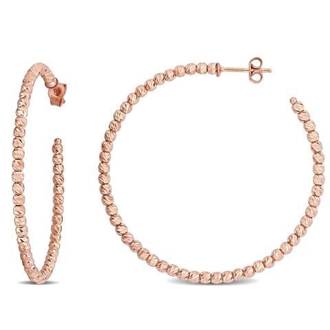 Miadora 18k Rose Gold Diamond-cut Beaded Hoop Earrings