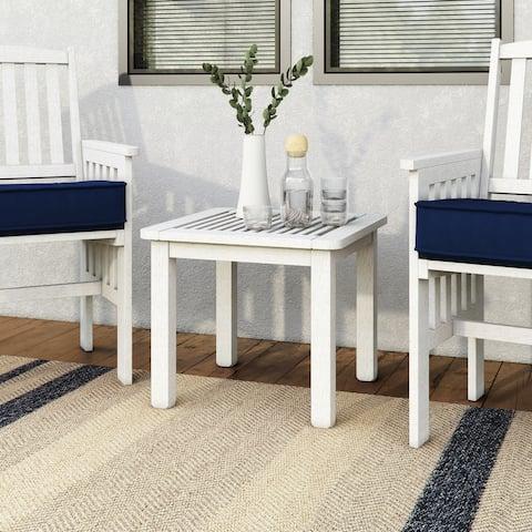 CorLiving Miramar Whitewashed Hardwood Outdoor Side Table