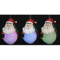 LED Lighted Color-Changing Santa Claus Christmas Ornament