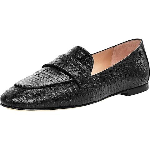 Stuart Weitzman Womens Payson Loafers Leather Slip On - Black