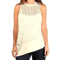 XOXO Ladies Assymetrical Crocheted Channel Top - Ivory