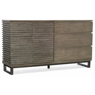 """Hooker Furniture 5760-90002  68"""" Wide 3 Drawer Rubberwood Dresser from the Annex Collection - Ceruse Gray Oak"""