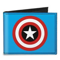 Captain America Shield Blue Canvas Bi Fold Wallet One Size - One Size Fits most