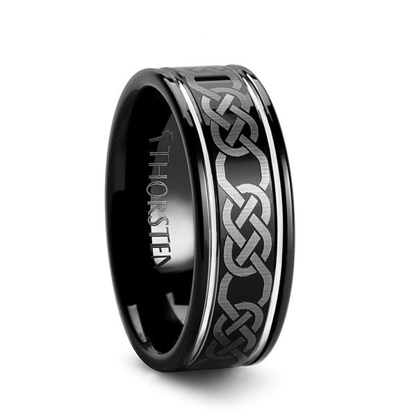 THORSTEN - KILKENNY Black Tungsten Ring with Celtic Pattern